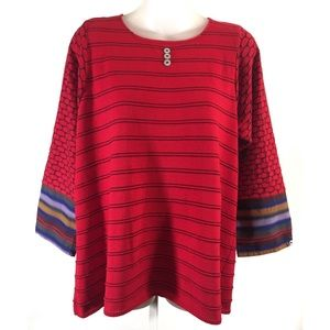 Margaret Winters Red Sweater L Black Woven Trim